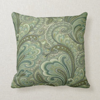 Vintage Paisley Sage MoJo Throw Pillow