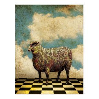 Vintage Paisley Sheep in Brown Postcard