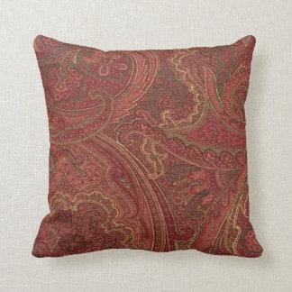 Vintage Paisley Wine Sage MoJo Throw Pillow