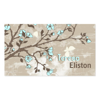 Vintage pale blue flowers floral grunge taupe business card template