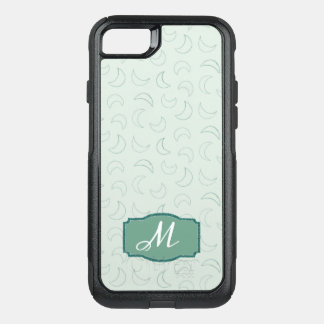 Vintage Pale Green Moon Pattern Monogram OtterBox Commuter iPhone 8/7 Case