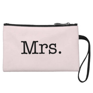 Vintage Pale Pink and Black Mrs. Wedding Mrs Quote Wristlet Clutch