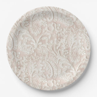 Vintage Pale Pink Lace 9 Inch Paper Plate