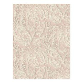 Vintage Pale Pink Lace Postcard