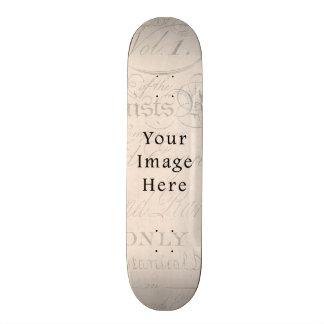 Vintage Pale Rose Pink Script Text Parchment Paper Skate Board Deck