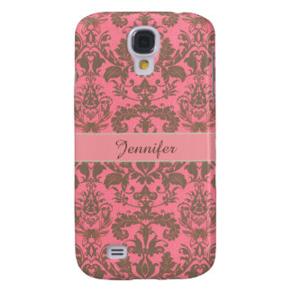 Vintage, pale violet red & sand brown Damask name Galaxy S4 Case