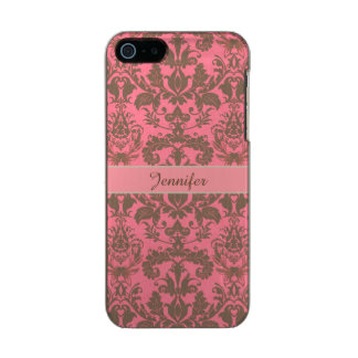 Vintage, pale violet red & sand brown Damask name Incipio Feather® Shine iPhone 5 Case