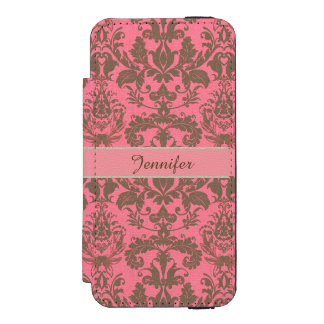 Vintage, pale violet red & sand brown Damask name Incipio Watson™ iPhone 5 Wallet Case