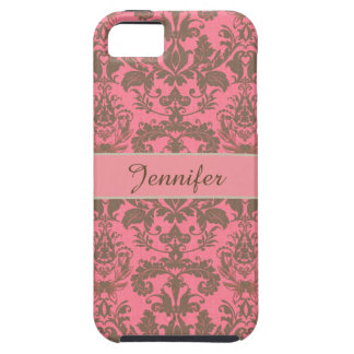 Vintage, pale violet red & sand brown Damask name iPhone 5 Cover