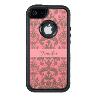 Vintage, pale violet red & sand brown Damask name OtterBox Defender iPhone Case