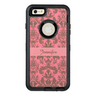 Vintage, pale violet red & sand brown Damask name OtterBox Defender iPhone Case