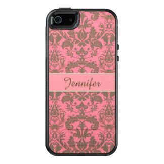 Vintage, pale violet red & sand brown Damask name OtterBox iPhone 5/5s/SE Case