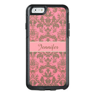 Vintage, pale violet red & sand brown Damask name OtterBox iPhone 6/6s Case