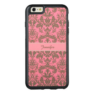Vintage, pale violet red & sand brown Damask name OtterBox iPhone 6/6s Plus Case