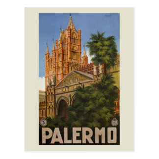 vintage Palermo Sicily Italian travel ad Postcard
