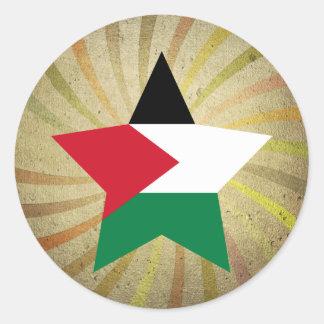 Vintage Palestinian Flag Swirl Round Sticker