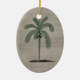 Vintage Palm Tree Ceramic Oval Decoration