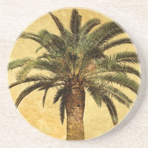 Vintage Palm Tree - Tropical Customized Template Drink Coaster