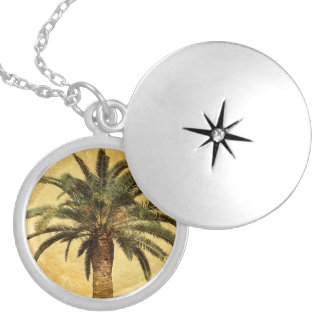 Vintage Palm Tree - Tropical Customized Template Round Locket Necklace