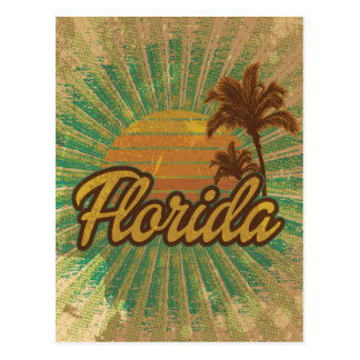 Vintage Palm Trees and Sun, Florida Postcard