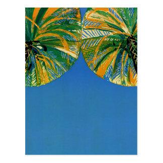 Vintage Palm Trees Cote D'Azur Travel Postcard