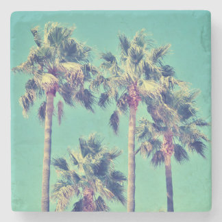 Vintage Palm Trees on Teal Stone Coaster