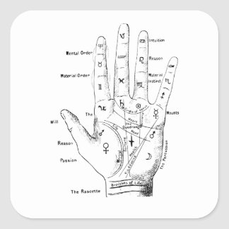 Vintage Palmistry fortune Telling Square Sticker