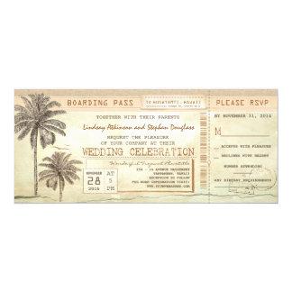 Vintage Palms Seaside Boarding Pass Wedding Ticket Card