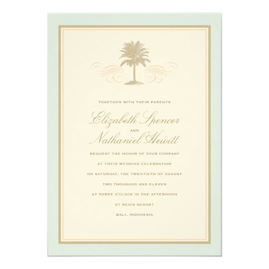 Vintage Palms Wedding Invitation Blue & Orange
