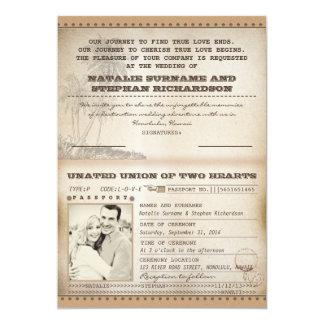 vintage palms wedding passport invitations
