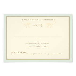 Vintage Palms Wedding RSVP Blue & Orange 9 Cm X 13 Cm Invitation Card