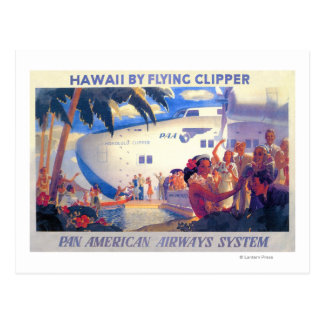 Vintage Pan American Travel Poster - Hawaii Postcard