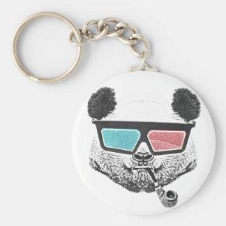 Vintage panda 3-D glasses Basic Round Button Key Ring