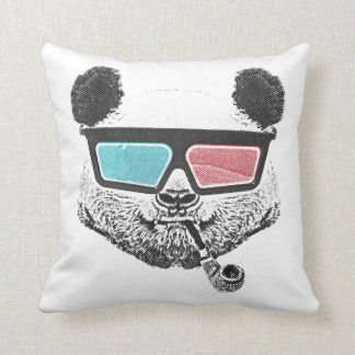Vintage panda 3-D glasses Cushion