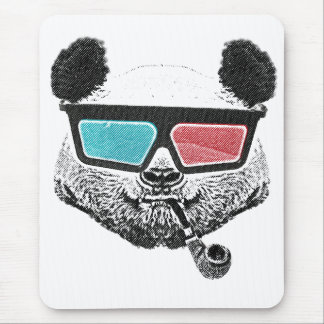 Vintage panda 3-D glasses Mouse Pad