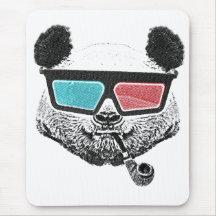 Vintage panda 3-D glasses Mousemats