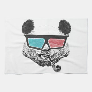 Vintage panda 3-D glasses Tea Towel