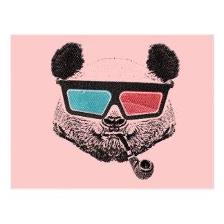 Vintage panda 3D glasses Cartes Postales