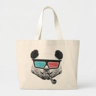 Vintage panda 3D glasses Large Tote Bag