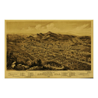 Vintage Panoramic Map Of Anniston Alabama 1888 Poster