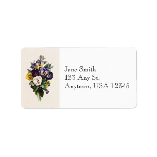 Vintage Pansies Address Labels