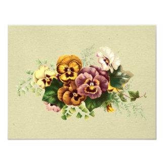 Vintage Pansies Bouquet 11 Cm X 14 Cm Invitation Card