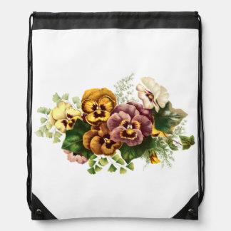 Vintage Pansies Bouquet Drawstring Bag