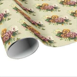 Vintage Pansies Bouquet Wrapping Paper