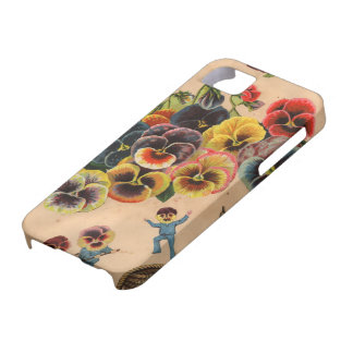 Vintage Pansies Floral Graphic Design iPhone Cover Case For The iPhone 5