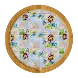 Vintage pansy cottage style flowers round cheese board