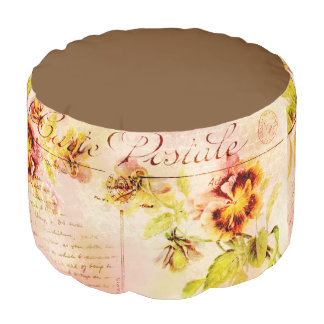Vintage pansy flower cursive writing round pouf