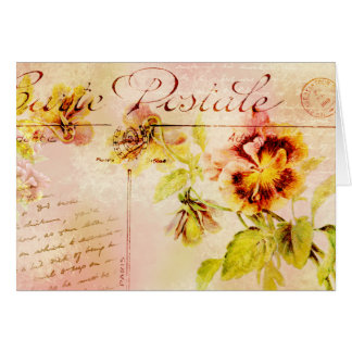 Vintage pansy flower feminine greeting card
