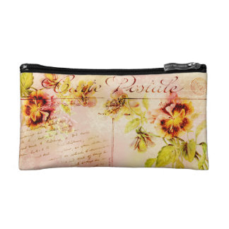Vintage pansy flower feminine girls cosmetic bag