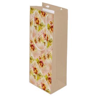Vintage pansy flower feminine girls wine gift bag